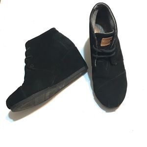 TOMS Black Suede Wedge Ankle Boots